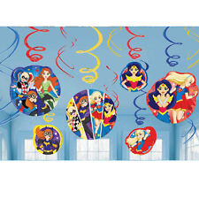 12 x DC Super Hero Girls Party Hanging Swirl Decorations Wonder Woman Supergirl