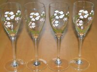 PERRIER JOUET 4 HAND PAINTED flower CHAMPAGNE FLUTES FRANCE glasses Stemware