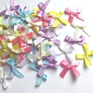 60 x Pastel Mix Satin Ribbon Bows Craft Cardmaking Embellishment Random Mix
