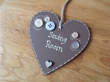 Sewing Room sign Heart Button Sign Mum Gift Craft Room Sign Plaque Personalised