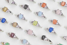 Hotselling Mixed Jewelry Lots 20ps Assorted Colors Cat Eye Unisex Wedding Rings