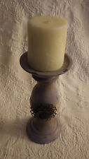 """Wooden Pillar Candle Holder Purple Painted Old Looking Design 8"""" Tall 4"""" D."""