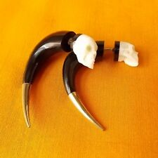 Skull Fake Gauge Earrings Silver Tip Carved Cow Bone Wholesale Gothic Jewelry