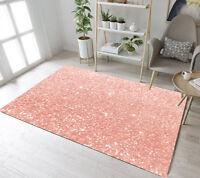 Rose Gold Glitter Design Floor Rug Mat Kids Bedroom Carpet Living Room Area Rugs