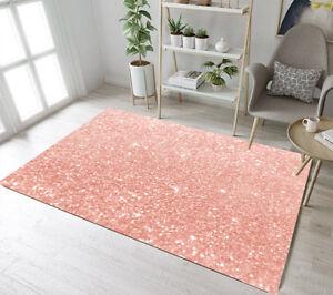 Rose Gold Glitter Design Area Rugs Floor Rug Mat Kids Bedroom Carpet Living Room