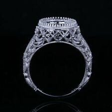 Vintage Semi Mount  Engagement Diamond Ring 9.5-10mm Round Solid 14K White Gold