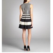 ABS Allen Schwartz Women��s Striped Sleeveless Dress Size 6 Black White A-line