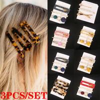 3Pcs/Set Women Geometric Hollow Acrylic Hair Clips Snap Barrette Stick Hairpin