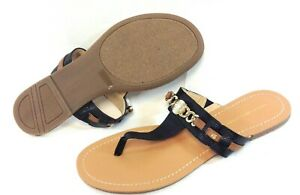 Womens Tommy Hilfiger Tw Lota Black Gold Flip Flops Thong Sandals Shoes