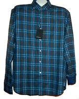 Bugatchi Men's Blue MidNight Plaids Cotton Button Up Shirt Sz XL Shaped Fit $149