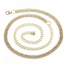 ORO 3 Row Cintura Strass Strass Diamante Donna Vita catena pendente moda