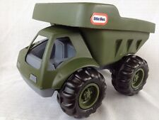 RARE Little Tikes Large Plastic Army Green Rugged Military Dump Truck 6655-00