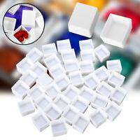 6/12/24/36/48pcs Empty Full/Half White Half Pans Paint Plastic Watercolor Paint