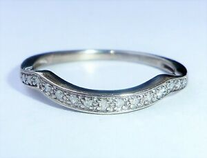 9ct White Gold 0.05ct Diamond Curved Wishbone Stacking Ring, Size N1/2
