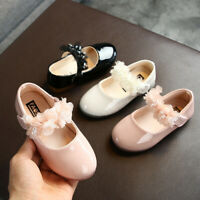 Toddler Infant Kids Girls Lace Crystal Princess Leather Shoes Dance Shoes