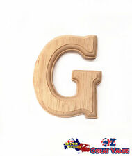 "Small Oak Wood Alphabet Letter ""G"" Natural Brown Uppercase Home Decor Art Craft"