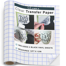 "Kassa Vinyl Transfer Tape Roll (12' x 12"") - Craft Application Paper for Cricut"