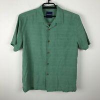 Tommy Bahamas Shirt Size M Green Silk Short Sleeve Hawaiian Aloha Mens