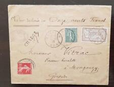 FRANCE Merson N°120+130+135 valeur déclarée. Pour REUILLY vers Mongauzy 13/11/07