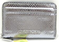 Michael Kors Money Pieces Card Case Pewter Leather Zip Around Wallet NWT $68