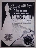 PUBLICITÉ 1961 ZENITH HORLOGERIE MEMO-PARK SOYEZ DE VOTRE TEMPS