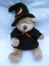 Animal Adventure Halloween Witch Magician Plush Bear Black Hat Orange Crescent