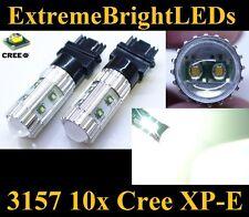TWO Xenon HID WHITE 50W High Power 3156 3157 10x Cree XP-E Backup Lights #86C