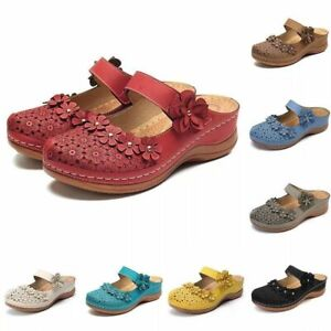 Women Orthopedic Sandals Floral Closed Toe Mules Summer Slippers Flat Shoes