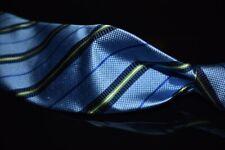 LNWOT Brooks Brothers English Silk Sky Blue Textured Satin Green Navy Stripe Tie