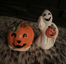 Fitz and Floyd Essentials Salt & Pepper Halloween  Ghost With Jack-o-Lantern