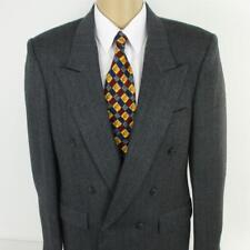 40 R Bespoke Gray Tweed Wool Double Breasted Mens Jacket Sport Coat Blazer Mint