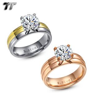 TT 6mm Stainless Steel 2 Carat Wedding Band Ring (R227)
