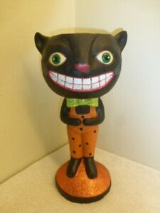 """Large Vintage Paper Mache Style Black Cat Candy Bowl Bethany Lowe Dept 56? 14"""" +"""
