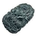 Antique Chinese Style Green Jade Stone Carving Asian Dragon Imperial Old Pendant