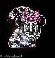 Minnie Mouse pink/clear ZEBRA 2nd Birthday iron on rhinestone transfer for shirt