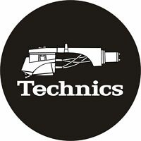 Technics 60644 PAIR Slipmat Headshell 1 Black / White Logo Original / Brand New