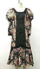 VTG 70s Princess Kaiulani Liberty House Fishtail Pintuck Boho Lace Roses Dress 6