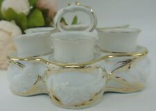 Vtg Set of 6 Porcelain Egg Cups with Caddy Embossed with Hens,Roosters and Fox