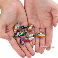 10Pcs Lot Fishing Lures Mini Fish Bass Trout Pike Crankbait Tackle Hooks Baits