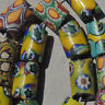 17 old antique venetian small tubular millefiori african trade beads #4870