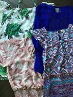 Lot Of 4* Anthropologie TOPS-Small/M Maeve 19 Cooper Meadow Rue Green Blue Print