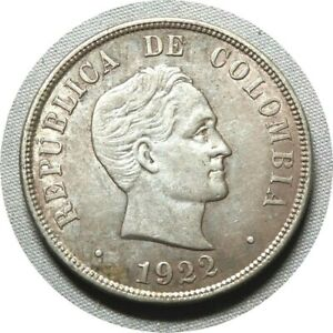 elf Colombia 50 Centavos 1922 (P) Simon Bolivar Philadelphia Mint Silver