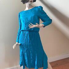 Vintage 1980's Womens Silk Studio for Petites Blue Floral Tea Dress  Size 10
