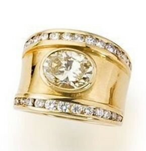 4Ct Oval Cut Simlnt Diamond Eternity Wide Engagement Ring Yellow Gold Fns Silver