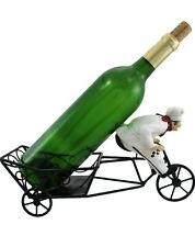 """""""VIN DELIVERY""""Bicycle Riding French Chef Wine Bottle HOLDER kitchen figurine"""