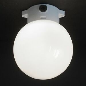 VINTAGE BAUHAUS / ART DECO STYLE OPALINE GLOBE LAMP WITH PORCELAIN BASE