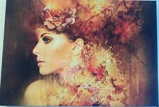Female Model Flower Lady Woman Girl Artwork Framed Ready To Hang Wooden Canvas