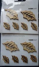 Kaisercraft Wooden Flourishes, Holly Leaves x 12, FL458, New, Christmas