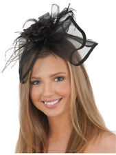 Womens Black Hat Headband With Feathers Steampunk Mini Elegant Hat Accessory