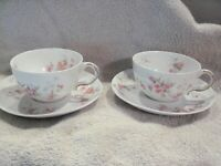 Theodore Haviland Limoges France, Schleigher, Pink/Ye Roses, 2 teacups &saucers